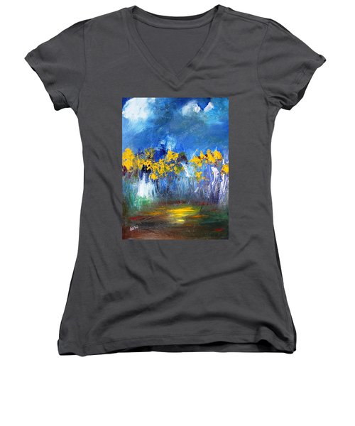 Flowers Of Maze In Blue Women's V-Neck T-Shirt (Junior Cut) by Gary Smith