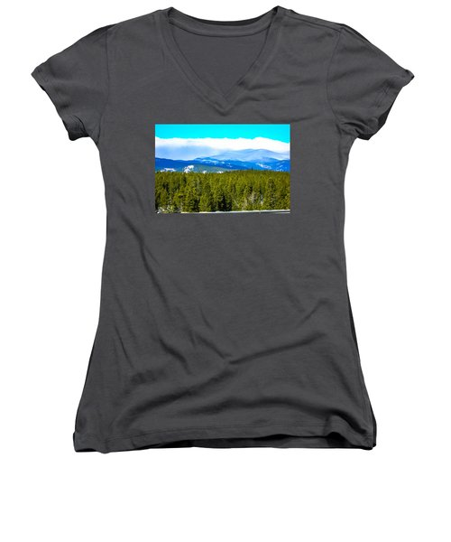 Women's V-Neck T-Shirt (Junior Cut) featuring the photograph Fog In The Rockies by Shannon Harrington