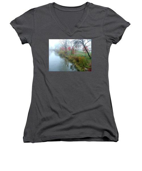Fog On The Muskegon River Women's V-Neck T-Shirt