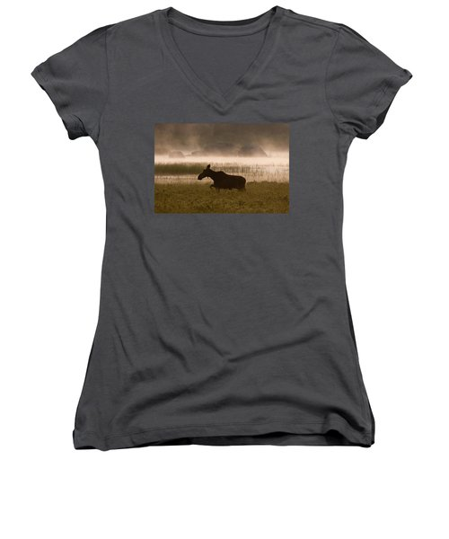 Foggy Stroll Women's V-Neck T-Shirt (Junior Cut) by Brent L Ander
