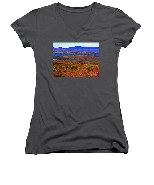 Foliage From Height Of Land Women's V-Neck (Athletic Fit)