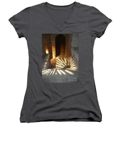 Follow The Light-stairs Women's V-Neck T-Shirt