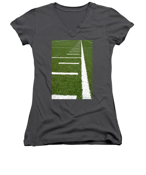 Women's V-Neck T-Shirt (Junior Cut) featuring the photograph Football Lines by Henrik Lehnerer