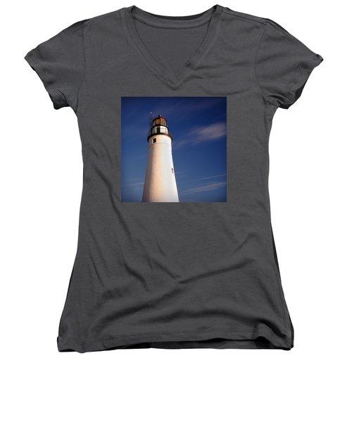 Women's V-Neck T-Shirt (Junior Cut) featuring the photograph Fort Gratiot Lighthouse by Gordon Dean II