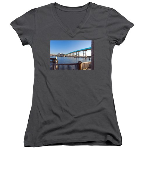 Fort Myers Bridge Women's V-Neck (Athletic Fit)