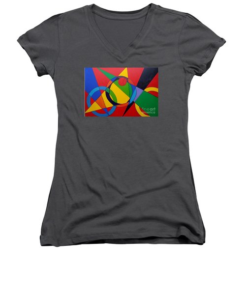 Women's V-Neck T-Shirt (Junior Cut) featuring the painting Frankenball by Julie Brugh Riffey
