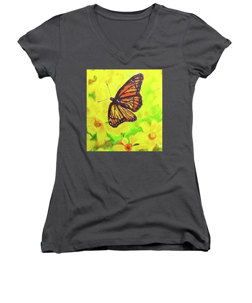 Women's V-Neck T-Shirt (Junior Cut) featuring the drawing Free To Fly by Beth Saffer