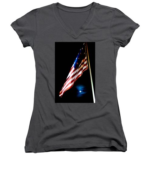 Flag On Federal Hill Women's V-Neck (Athletic Fit)