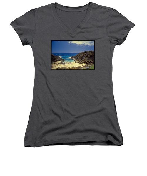From Here To Eternity Beach Women's V-Neck T-Shirt (Junior Cut) by Mark Gilman