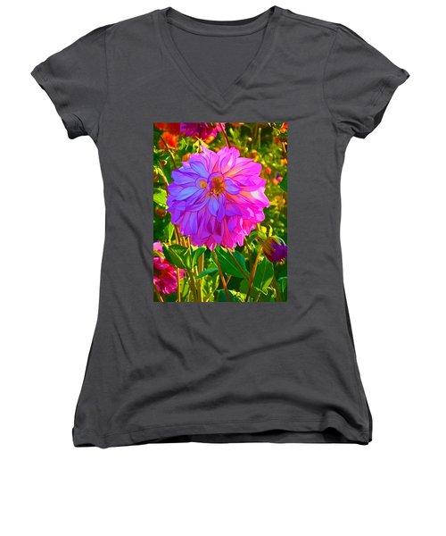 Women's V-Neck T-Shirt (Junior Cut) featuring the photograph Fuchsia Delight by Ken Stanback