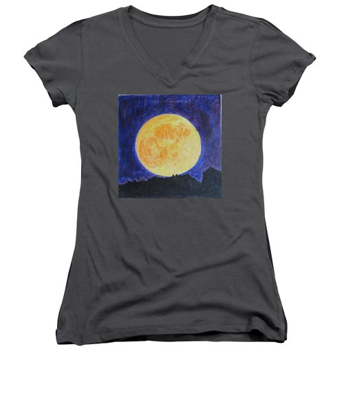 Women's V-Neck T-Shirt (Junior Cut) featuring the painting Full Moon by Sonali Gangane