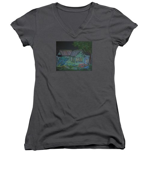 Women's V-Neck T-Shirt (Junior Cut) featuring the painting Gabby's House by Francine Frank