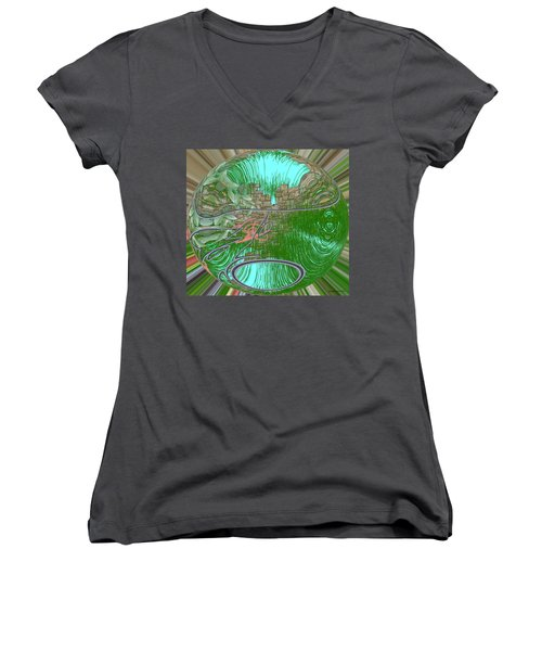 Women's V-Neck T-Shirt (Junior Cut) featuring the digital art Garden Wall by George Pedro