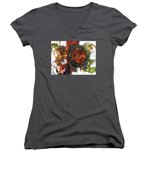 Women's V-Neck T-Shirt (Junior Cut) featuring the painting Gaurdian  02.101511 by Kris Haas