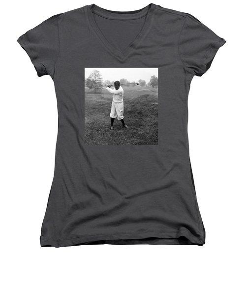 Women's V-Neck T-Shirt (Junior Cut) featuring the photograph Gene Sarazen - Professional Golfer by International  Images