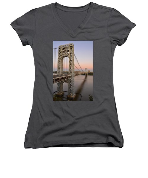 George Washington Bridge At Sunset Women's V-Neck T-Shirt