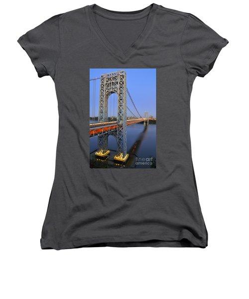 George Washington Bridge At Twilight Women's V-Neck T-Shirt (Junior Cut) by Zawhaus Photography
