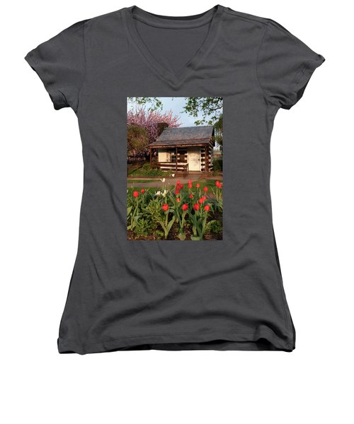 Women's V-Neck T-Shirt (Junior Cut) featuring the photograph George Washington's House by Jeannette Hunt