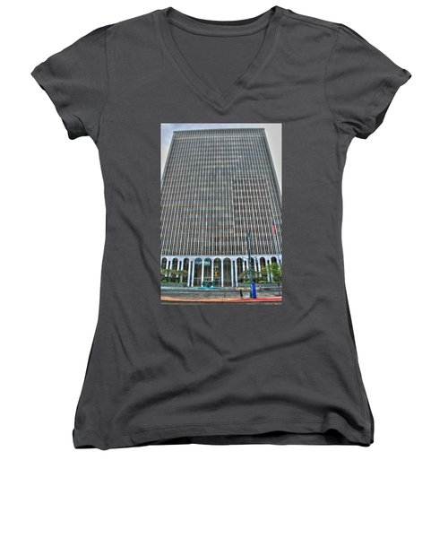 Women's V-Neck T-Shirt (Junior Cut) featuring the photograph Giant Bank Of M And T by Michael Frank Jr