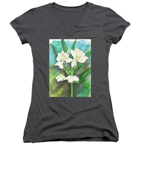 Women's V-Neck T-Shirt (Junior Cut) featuring the painting Ginger Lilies by Carla Parris
