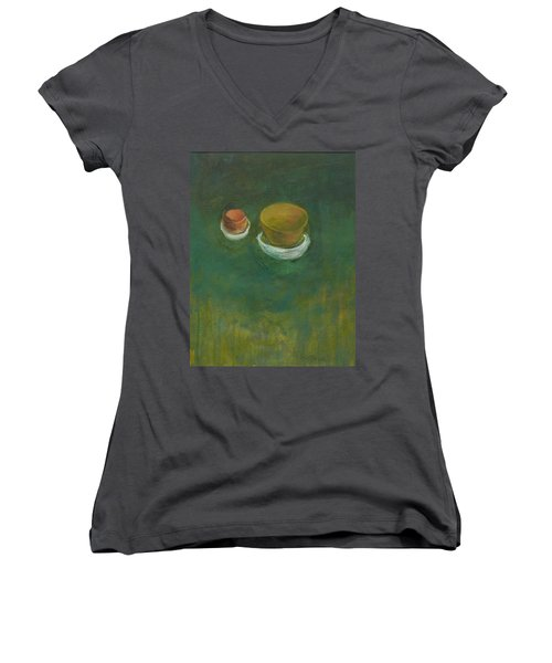 Women's V-Neck T-Shirt (Junior Cut) featuring the painting Ginger Pot by Kathleen Grace