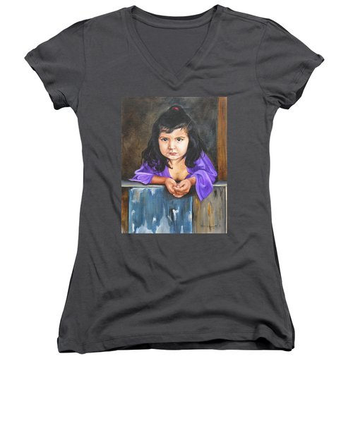 Women's V-Neck T-Shirt (Junior Cut) featuring the painting Girl From San Luis by Lori Brackett