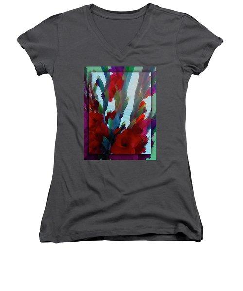 Women's V-Neck T-Shirt (Junior Cut) featuring the digital art Glad by Richard Laeton