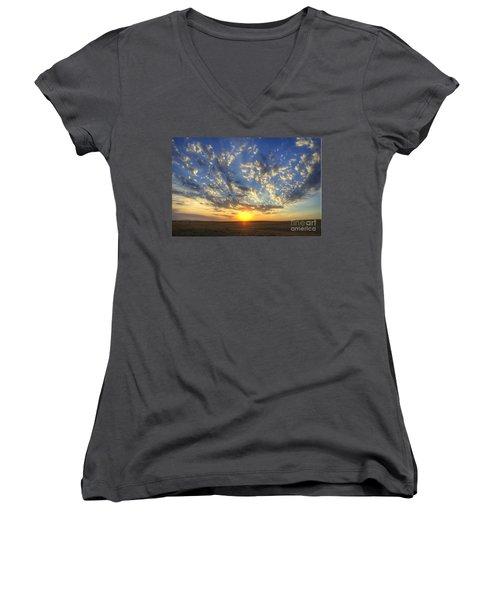 Glorious Sunrise Women's V-Neck T-Shirt (Junior Cut) by Jim and Emily Bush