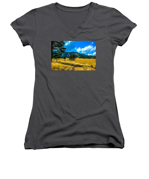 Women's V-Neck T-Shirt (Junior Cut) featuring the photograph God's Country by Shannon Harrington