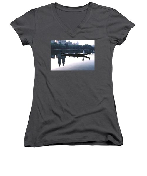Women's V-Neck T-Shirt (Junior Cut) featuring the photograph Gondola On The Central Park Lake by Tom Wurl