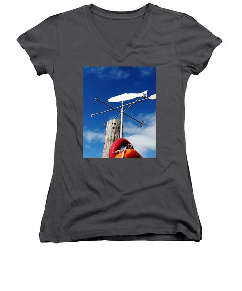 Women's V-Neck T-Shirt (Junior Cut) featuring the photograph Gone Fishing by Charlie and Norma Brock