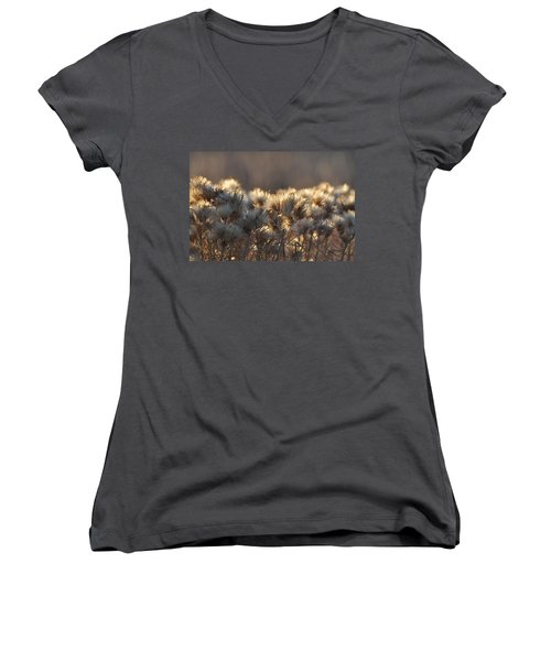 Women's V-Neck T-Shirt (Junior Cut) featuring the photograph Gone To Seed by Fran Riley