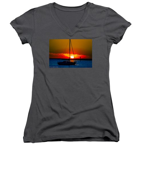 Women's V-Neck T-Shirt (Junior Cut) featuring the photograph Good Night by Shannon Harrington