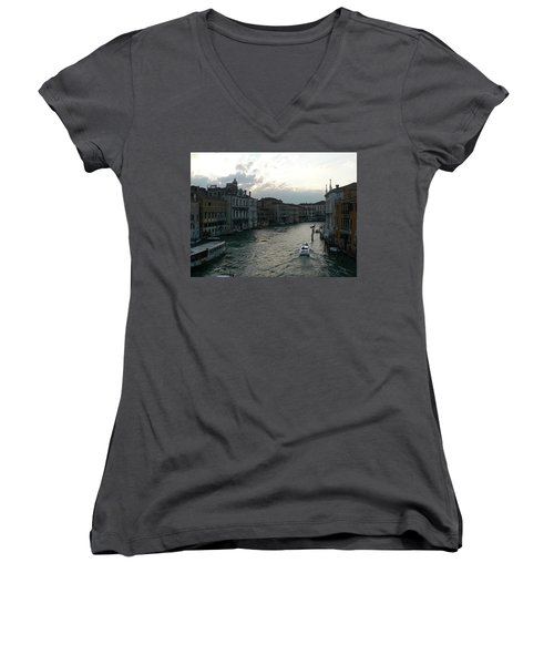 Women's V-Neck T-Shirt (Junior Cut) featuring the photograph Grand Canal At Dusk by Laurel Best