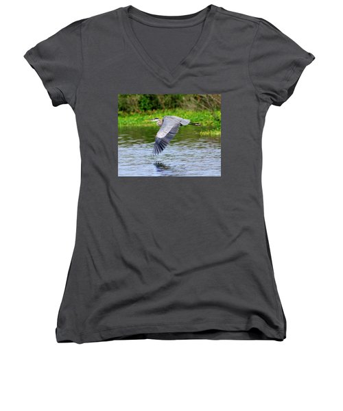 Great Blue Heron Inflight Women's V-Neck