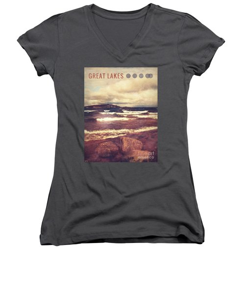 Women's V-Neck T-Shirt (Junior Cut) featuring the photograph Great Lakes by Phil Perkins