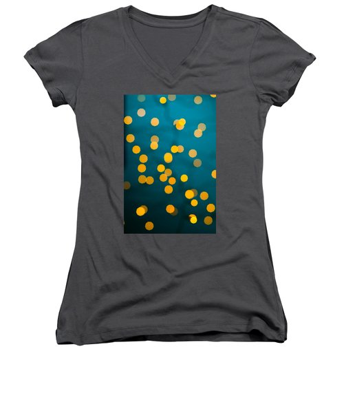 Green Background With Gold Dots  Women's V-Neck T-Shirt (Junior Cut) by Ulrich Schade