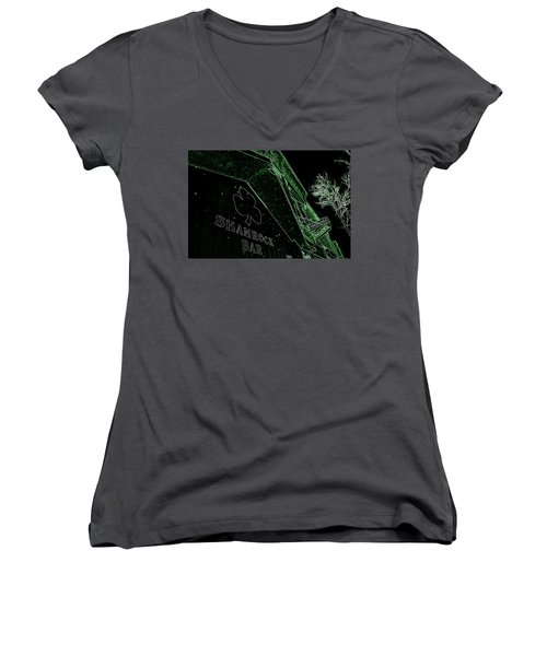 Green Night Women's V-Neck T-Shirt (Junior Cut) by Zafer Gurel