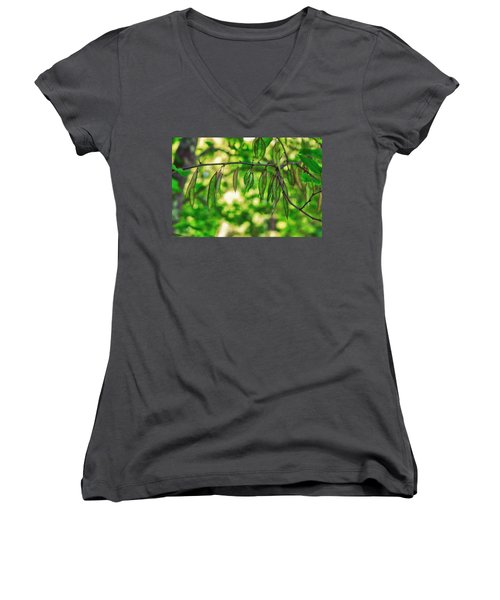 Green Redbud Seed Pods Women's V-Neck (Athletic Fit)
