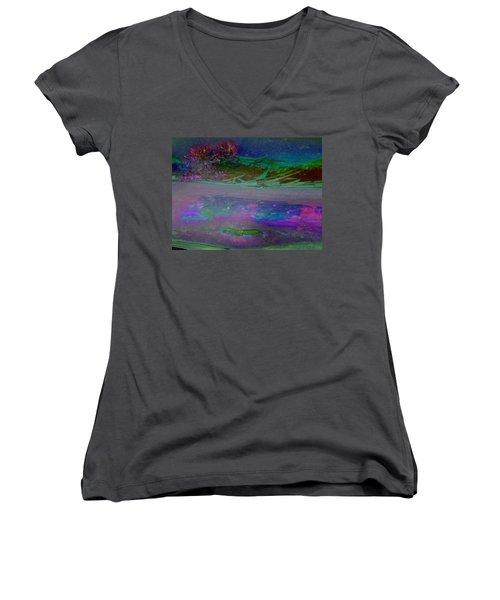 Women's V-Neck T-Shirt (Junior Cut) featuring the digital art Grow by Richard Laeton