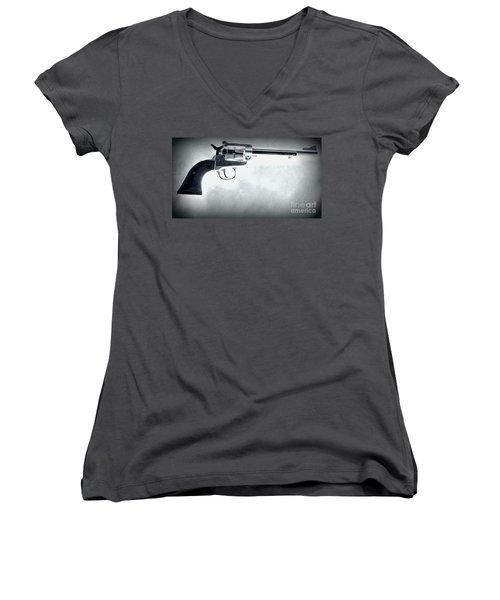 Women's V-Neck T-Shirt (Junior Cut) featuring the photograph Guns And Leather 3 by Deniece Platt