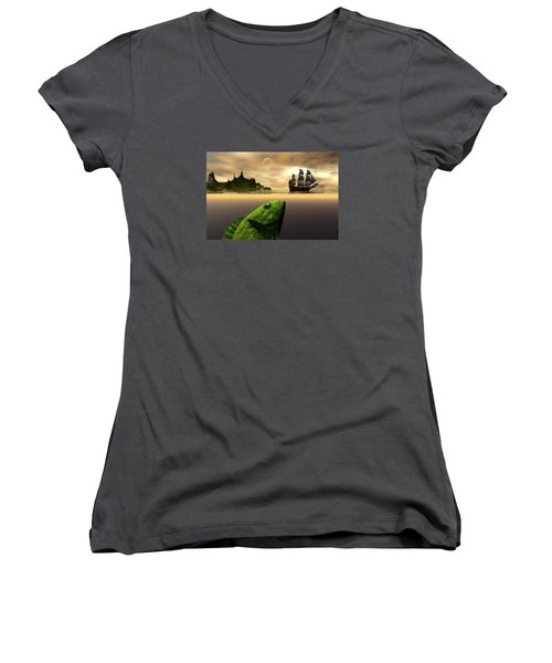 Women's V-Neck T-Shirt (Junior Cut) featuring the digital art Gustatory Anticipation by Claude McCoy