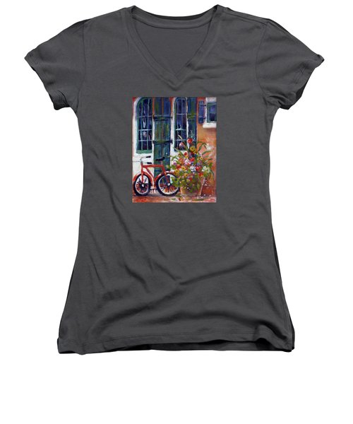 Habersham Bike Shop Women's V-Neck T-Shirt (Junior Cut) by Gertrude Palmer