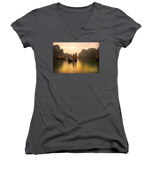Women's V-Neck T-Shirt (Junior Cut) featuring the photograph Halong Bay - Vietnam by Luciano Mortula