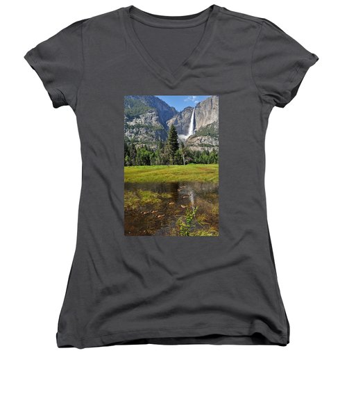Women's V-Neck T-Shirt (Junior Cut) featuring the photograph Happy Campers by Lynn Bauer