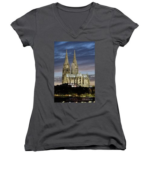 Women's V-Neck featuring the photograph High Cathedral Of Sts. Peter And Mary In Cologne by Heiko Koehrer-Wagner