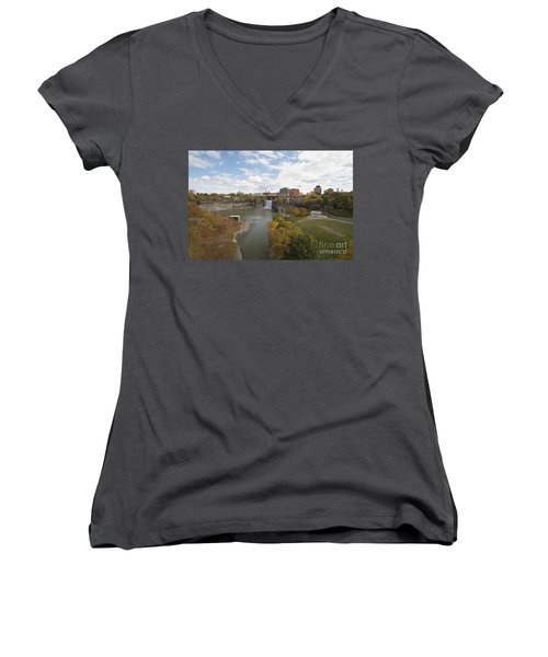 Women's V-Neck T-Shirt (Junior Cut) featuring the photograph High Falls by William Norton