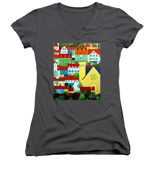 Women's V-Neck T-Shirt (Junior Cut) featuring the painting Hillside Village by Barbara Moignard