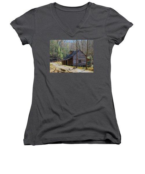 Historic Cabin On Roaring Fork Motor Trail In Gatlinburg Tennessee  Women's V-Neck