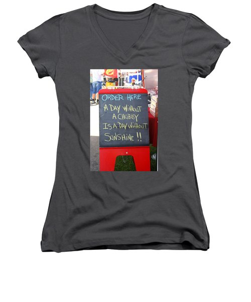 Women's V-Neck T-Shirt (Junior Cut) featuring the photograph Hot Dog Stand Humor by Kay Novy